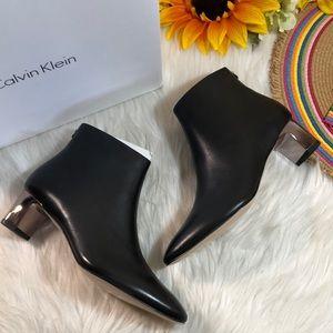 Calvin Klein Mimette Block Heel Leather Booties 6